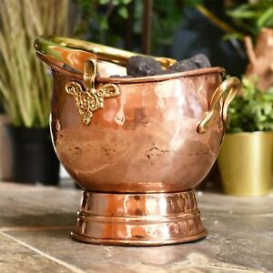 Large Brushed Copper Fireside 17L Coal Fuel Scuttle Hod Storage Bucket