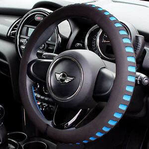 BLUE-BLACK-COMFY-FOAM-CAR-STEERING-WHEEL-COVER-GLOVE-UNIVERSAL-PADDED-DESIGN