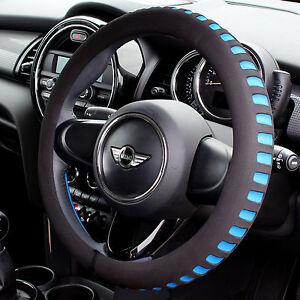 BLUE-amp-BLACK-COMFY-FOAM-CAR-STEERING-WHEEL-COVER-GLOVE-UNIVERSAL-PADDED-DESIGN