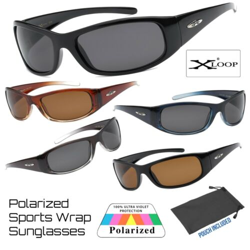 Mens Xloop Polarized Sports Biker Outdoor Wrap Around Plastic Frame Sunglasses