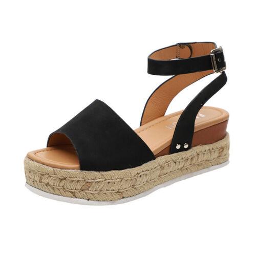 Women Leopard Flat Heels Platform Wedge Sandals Ankle Strap Shoe Size 2.5-8.5