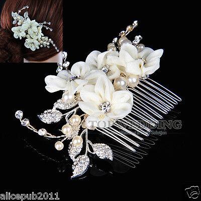Elegant Wedding Prom Bridal Jewelry Beige Flower Hair Comb w/ Rhinestone & Pearl
