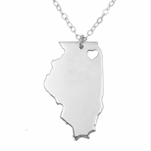 silver USA State of Illinois 316L Stainless Steel Pendant Necklace