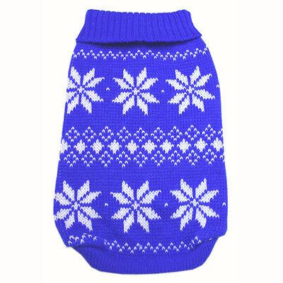 886 XS~L Blue Snowflakes Sweater Coat Dress/ Dog Clothes Sweatshirt Jacket -N