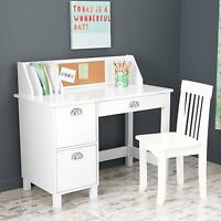 Kids Computer Desk White Small Chair Children Storage Laptop Workstation 2 Piece