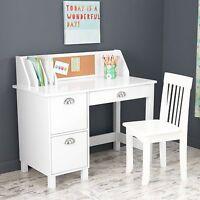 Kids Computer Desk White Small Chair Children Storage Laptop Workstation 2 Piece