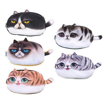 Cute 3D Cats Zipper Pencils Bag Plush Pencil Case School Stationery Pen Box Gift