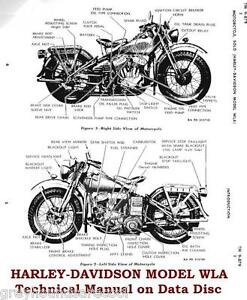 harley davidson model wla motorbike vintage technical manual on data rh ebay co uk Harley Wiring Harness Diagram harley davidson motorcycle engine diagram