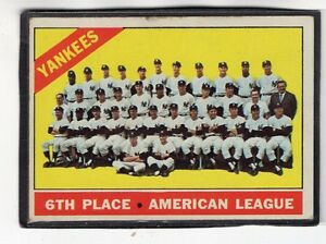 Details About 1966 New York Yankees Team Photo Topps Baseball Card 92