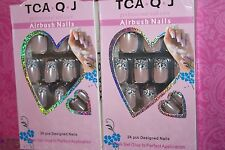 TCA.Q.J AIRBUSH NAILS 24 PCS DESIGNED Acrylic Nail tips LOT OF 2 USA SELLER #4