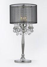 Silver Mist 3 Light Chrome Crystal Table Lamp w/ Black Shade Contemporary Modern
