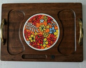 Vintage-wood-with-tile-insert-Cheese-serving-board-Brass-handles-Made-in-Japan