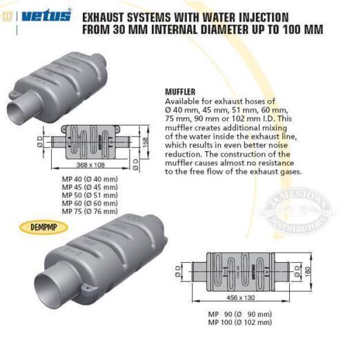 Vetus Plastic Muffler Type MP75