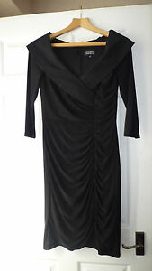 Absolutely-stunning-Adrianna-Papell-UK10-black-stretchy-dress-large-collar