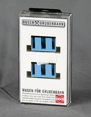 Busch 5027 Zwei Mannschaftswagen blau Grubenbahn H0f Neu