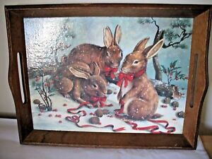 Large 11.5 x 15 Christmas / Winter Decoupage Wooden Serving Tray Rabbits in Snow