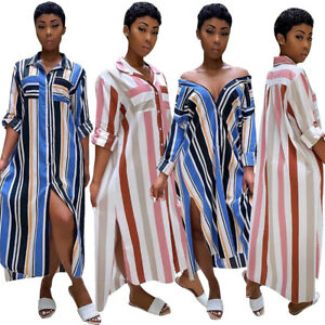 Women-Short-Sleeves-Side-Slit-Casual-Party-Stripes-Buttons-Blouses-Shirt-Dress