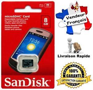 Carte-Memoire-Memory-Card-SANDISK-8-Go-Format-Micro-SD-SDHC-Classe-4