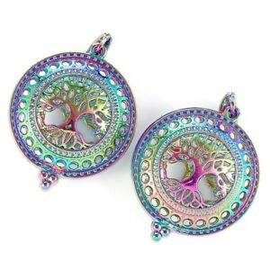 2Pcs-Rainbow-Color-3D-Round-Life-Tree-Pearl-Beads-Cage-Pendant-DIY-Jewelry-Craft