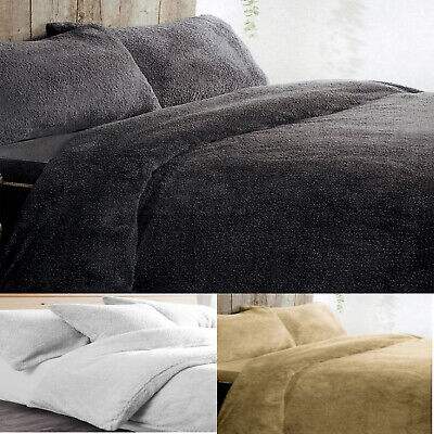 Teddy Bear Fleece Duvet Quilt Cover Bed Set With Pillow