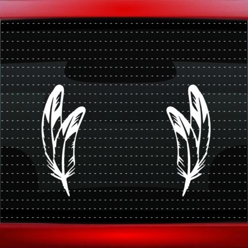 Feather #9 Pair Native American Car Decal Window Sticker Bear Paw 20 COLORS!