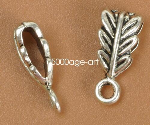 30PCS 100PCS tibetan silver  charms  leaves pendants bail connectors 14MM A3482