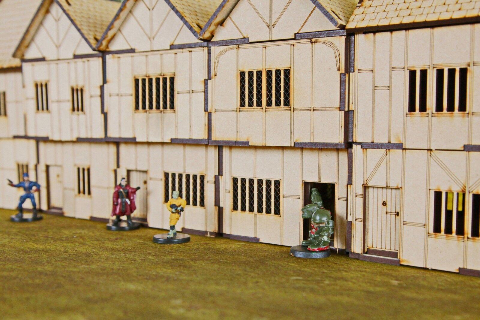 6 Tudor Medieval Buildings - 28mm Modular Buildings for Wargamers & Roleplay