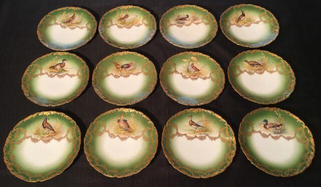 Antique T&V Limoges Set of 12 Game Bird Cabinet Plates 9 1/2