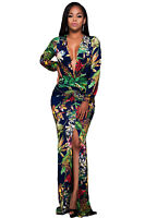 Plunging V Neck Floral Print Front Slit Long Sleeve maxi Dress  size UK 8-10