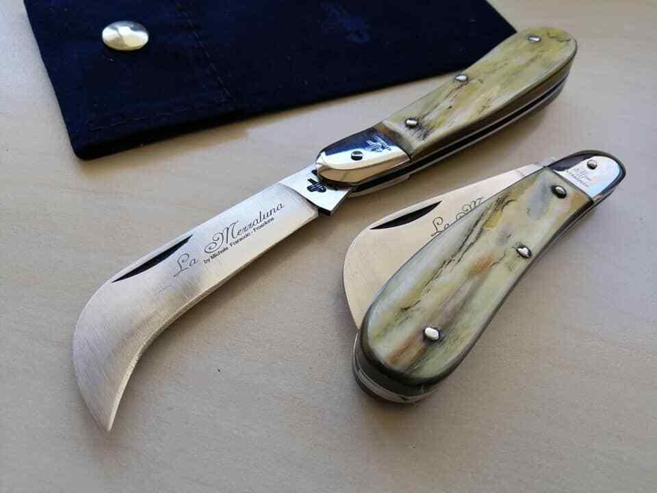 Coltello Tradizionale Roncola mezzaluna inox corno antico couteau navaja knife