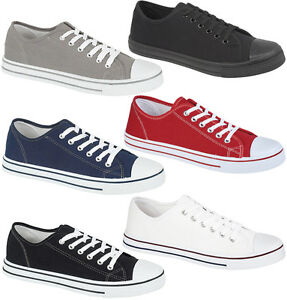 Mens-Lace-Up-Canvas-Shoes-Boys-Fitness-Gym-Sports-Trainers-Plimsolls-Pumps-Size