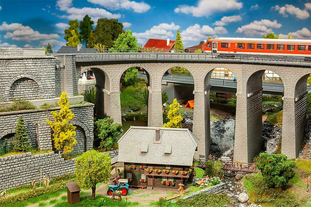Faller 120466 , Viadukt-Set, 2-carriles, Curvo, Miniaturas H0 (1 87)