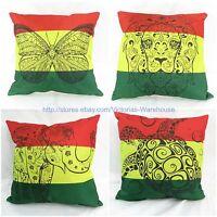 Wholesale 4pcs Rasta Reggae Butterfly Lion Turtle Elephant Cushion Cover Cotton