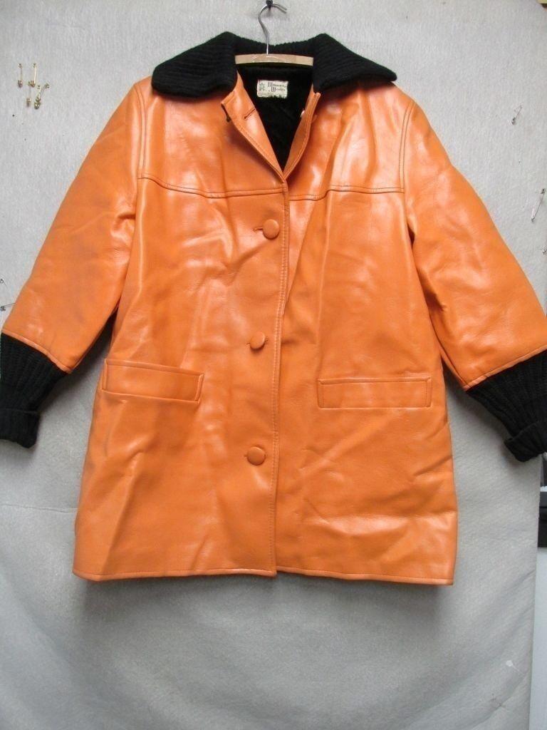 V6640 Minnesota Woolen Orange Kunst- Leder Schwarz Strick 18.3ms Mantel Damen L