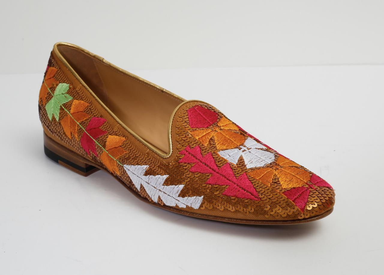 ETRO Womens Copper Embroidered Embroidered Embroidered Sequin Canvas Loafer Slip-On Flat 10-40 NEW+BOX d14c84
