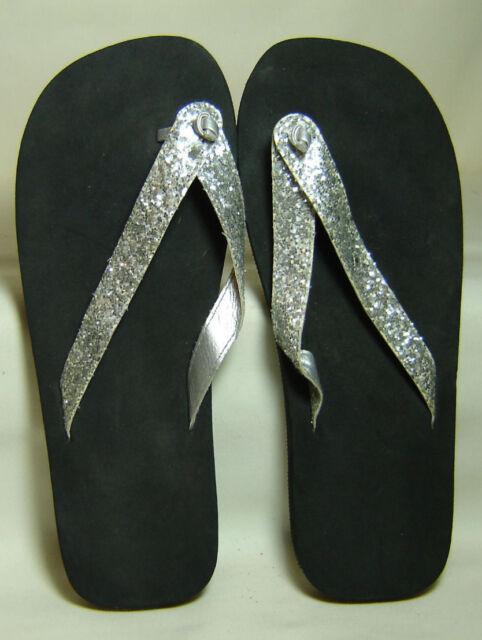 3ab770be44b3 NEW Black Sliver Glitter Flip Flop Thong Sandals - Women s Size Large