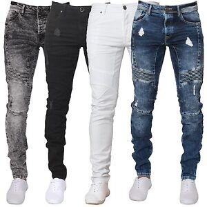 a293b10b7591 New Enzo Mens Super Skinny Fit Ripped Jeans Stretch Biker Distressed ...