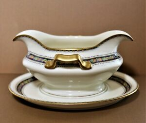 "Rosenthal Bavaria Orelay Gravy Boat Attached Underplate Cream Gold Trim 8"""