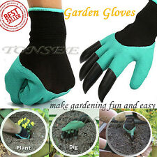 Garden Gloves for Digging & Planting with 4ABS Plastic Claws gardening gloves U