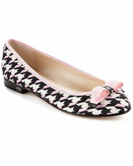 Christian Dior Bow Houndstooth Ballerina Beige Leather Ballet Flats chaussures 39.5