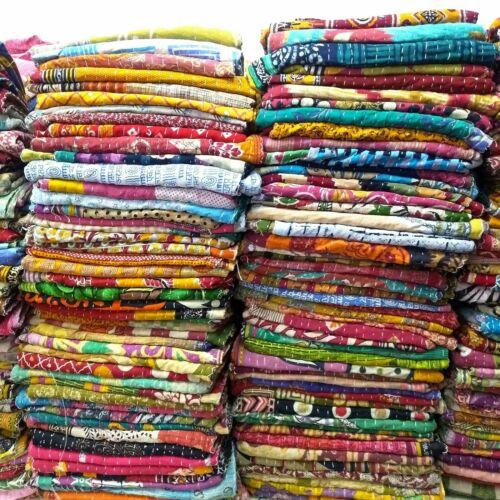 Indian Handmade Vintage Reversible Kantha Quilt Throw Blanket Indian Ralli Gu