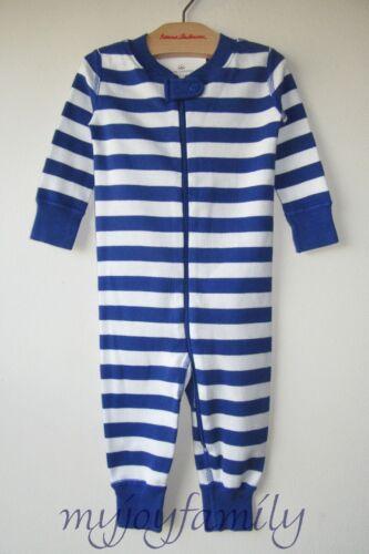 HANNA ANDERSSON Baby Organic Zip Sleeper Deep Blue Sea Stripe 75 12-18 month NWT