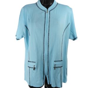 Misook-Light-Blue-Stretchy-Front-Pockets-Zip-Up-Top-Women-039-s-Size-Medium