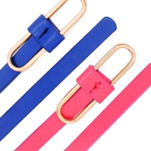 Damen Gürtel Damen Faux Leder Glossy Loop Gürtelschnalle Strap Thin Taille Überg GläNzend