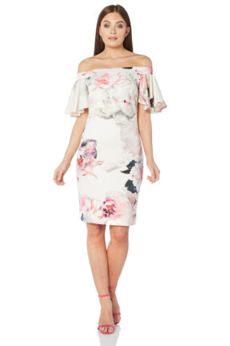 Roman Originals Femme Ivoire Imprimé Floral Bardot Robe Taille 10-20
