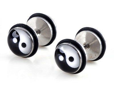 1 Pair Barbell Ear Studs 18G Fake Cheater Stretcher Expander Plug 25 Styles