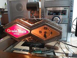 Grain Belt Beer Lighted Sign Clock