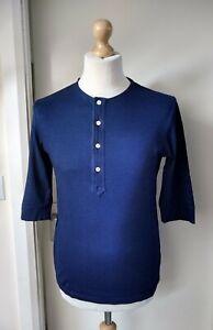 All-Saints-T-Shirt-Top-Designer-Mens-Size-XS-Blue-True-Indigo-Button-Neck-Cotton