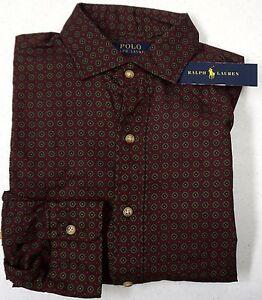 NWT $125 Polo Ralph Lauren Shirt Mens  L Red Maroon Button Down Cotton NEW