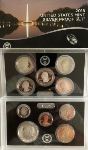 With Box /& COA 2018 US Mint SILVER Proof Set All 10 coins for 2018